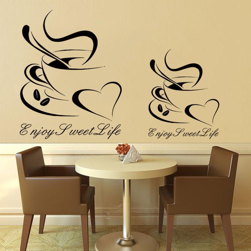 Art Wohndesign: Art Design Cheap Vinyl Home Decoration Heart Coffee Cup