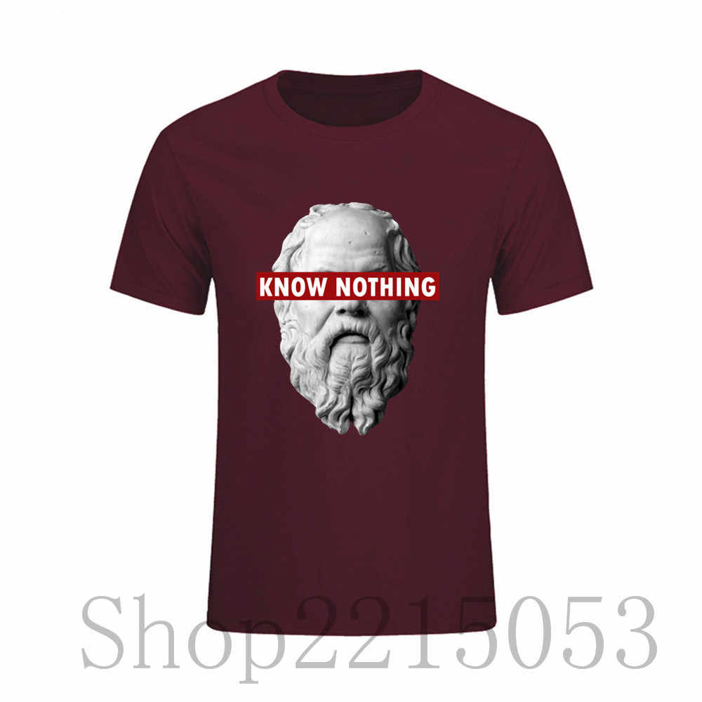 2f5112b53 KNOW NOTHING SOCRATES Cotton Fashion Tee MALE Great Short Sleeve T-Shirt  Mens T Shirt
