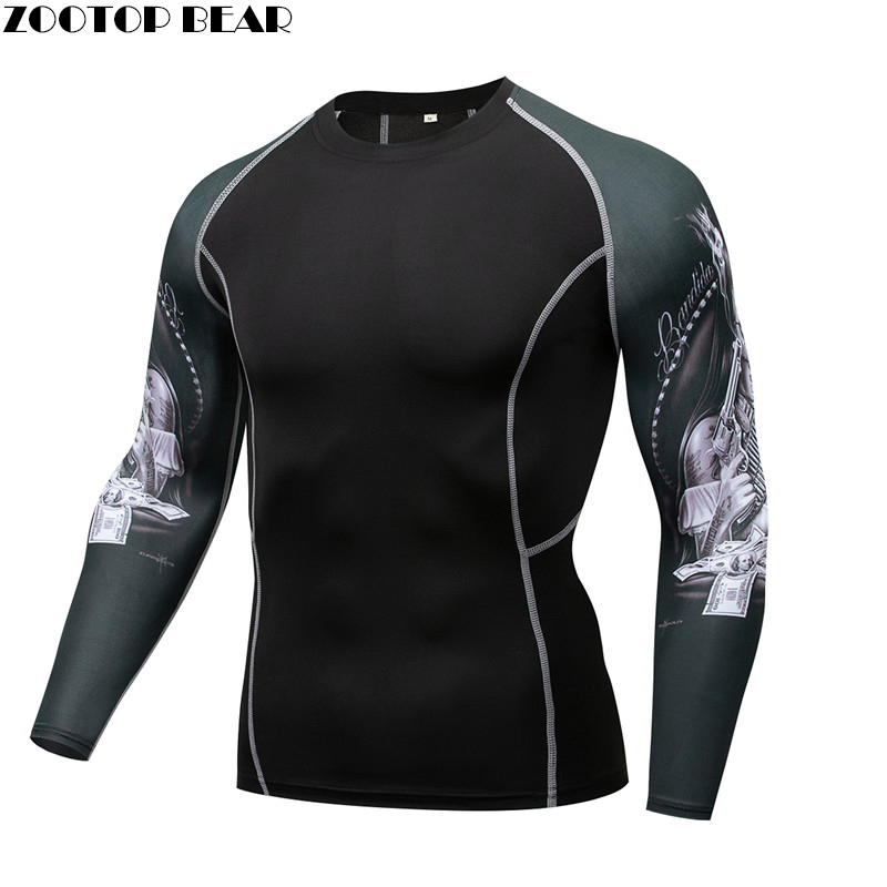 Hole T shirts Compression MMA Tee Rash guard Men T-shirts Elastic Tight Weight Lifting Crossfit Top Fitness quick dry Breathable