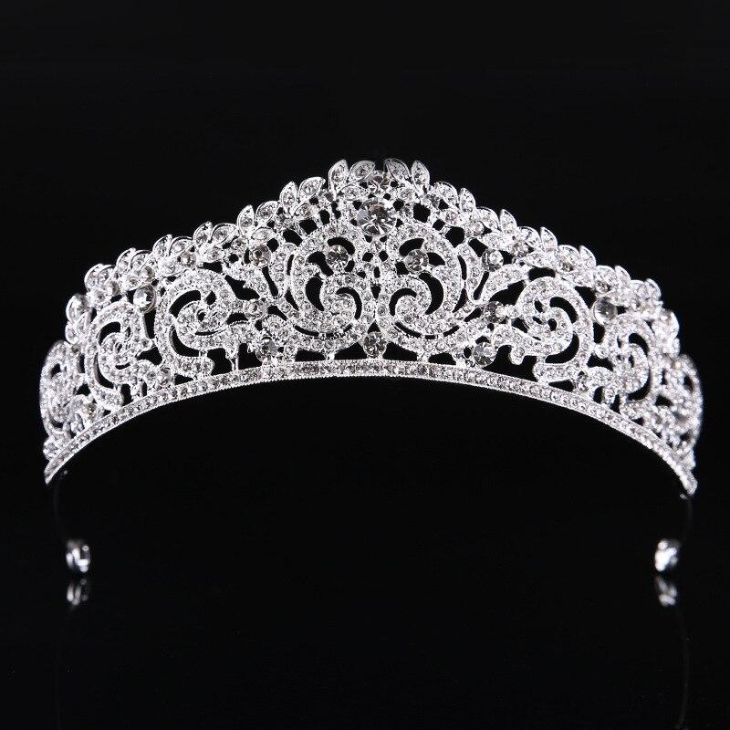 Silver bride Tiara High Quality Crystal Wedding Crown Bridal Pageant Hair Accessories Bride Head Jewelry Wedding HeaddressT-714