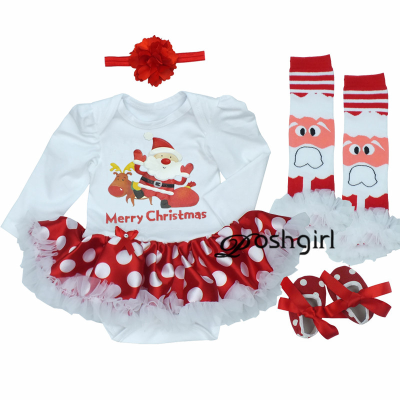 Christmas Dress 2018 Baby Girl Dress 4pcs/set Outfit Jupersuit Clothing Babies Bebe Dress + Shoes+socks+hairband Newborn Clothes xmas rhinestone elf socks rhinestone minnie my first christmas socks l s top green white dot red skirt baby girl outfit 1 8y
