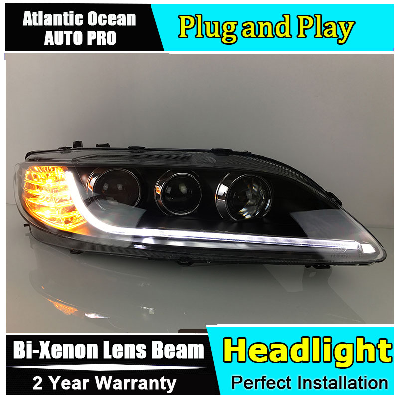 Car Styling LED Head Lamp for Mazda6 headlights 2003-2013 Mazda 6 LED headlight drl HID KIT Bi-Xenon Lens angel eye low beam headlight for kia k2 rio 2015 including angel eye demon eye drl turn light projector lens hid high low beam assembly