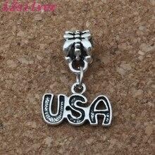100pcs Antiqued Silver Alloy USA Charm Big Hole Bead Fit Bracelet Jewelry 15.5x23mm A-169a
