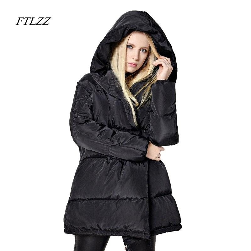 FTLZZ جديد الشتاء Parkas النساء فضفاضة تناسب 90% بطة أسفل معطف متوسطة طويلة سماكة مقنعين سترة الدافئة الثلوج الوردي المعطف-في معاطف قصيرة من ملابس نسائية على  مجموعة 2