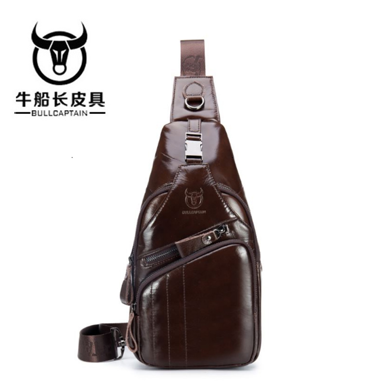 BULLCAPTAIN men chest bag Male Shoulder Bag Fashion Genuine Leather bag Big small model casual messenger bag 2 color ...