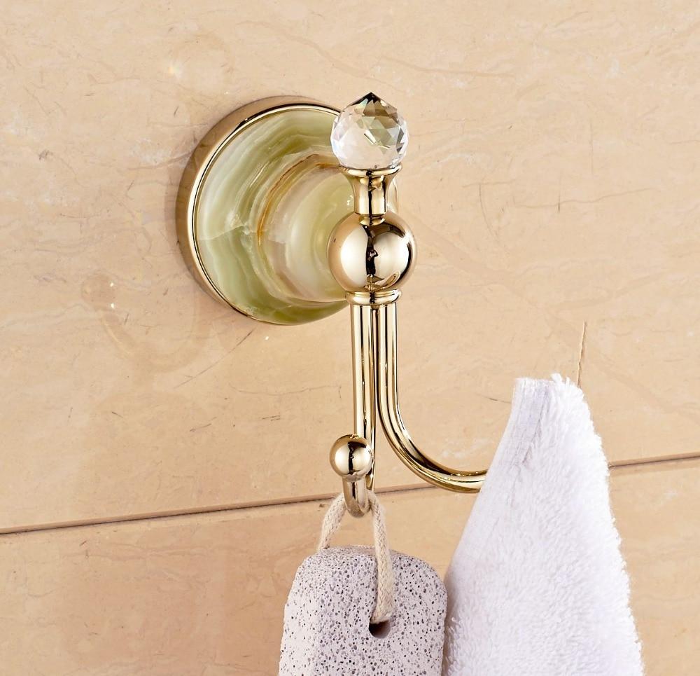 Wall Mounted Jade Brass Towel Hook Bathroom Towel&Coat Rack Gold Polish