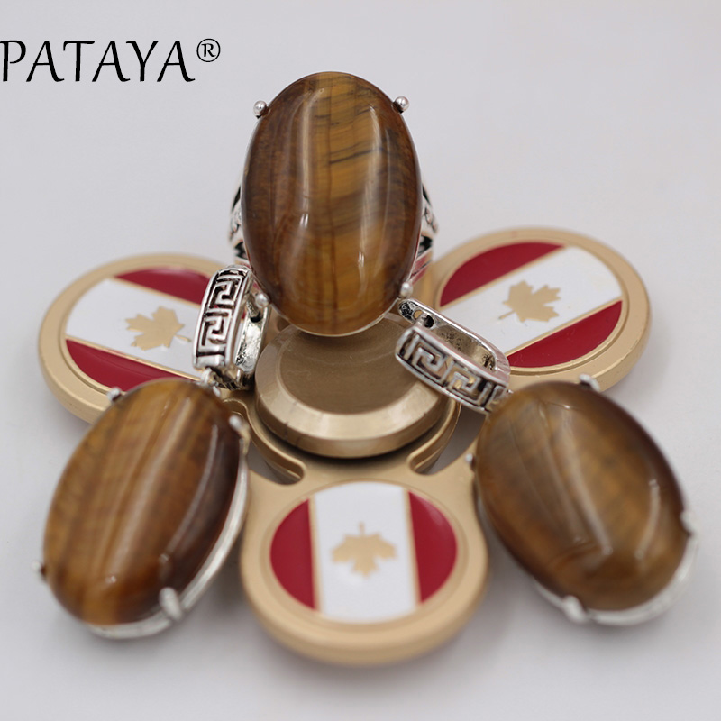 PATAYA New Arrivals Ancient Silver Wipe Black Back Hollow Jewelry Set Fine Natural Tiger Stone Big Earrings Ring Set Wedding Set