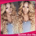 New 180% density 2 tones 1/613# blonde wavy hair brazilian synthetic lace front wig heat resistant cheap wigs for black women