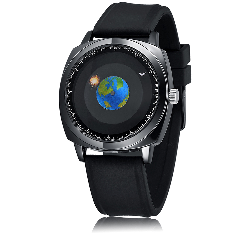 Abrray Creative Earth Unisex Watch Personality Sun And Moon Dial Silicone Strap Quartz Wristwatches Astronomy Space Watches