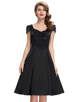 Yeni stil 2017 yaz womens günlük elbiseler retro parti 50 s siyah robe vintage dress artı boyutu ucuz bayanlar vestidos femininos