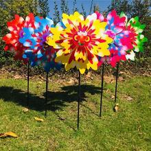 Ветряной Спиннер три слоя подсолнечника наружное украшение сада штифт ветряной мельницы дети игрушки мультфильм забавные игры вращение