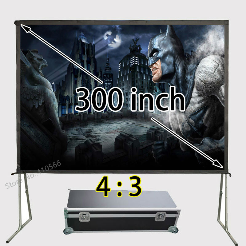 New 4:3 300 inch Full HD Projection Portable Fast Fold Screen , Quick Folding Screens With Flight Case hd projector projection screen 300inch 16 9 format outdoor fast folding frame screens for camping music party