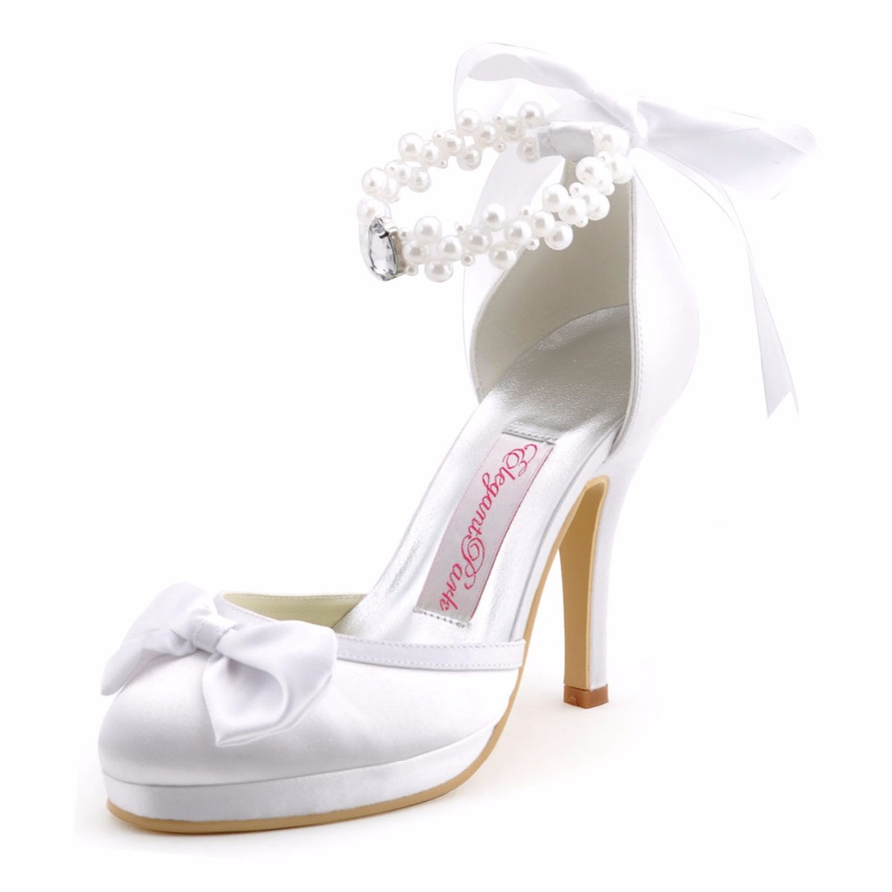 Shoes Woman EP11074-PF Ivory White High Heel Platform Pumps Pearls Ankle Strap Satin Bridal Party Evening Wedding Shoes