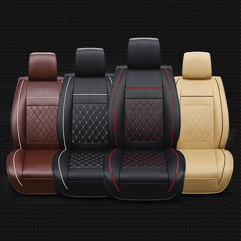 Universal PU Leather Car Seat Covers 1pc Four Seasons Front Seat Support Pad Cushion Accessories Auto Interiors Accessories