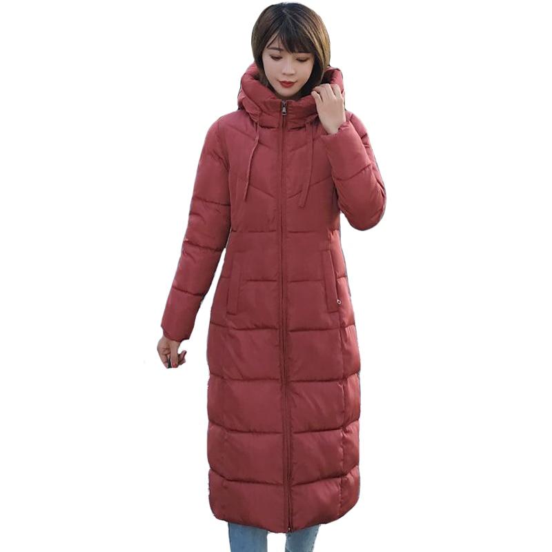 Plus Size Solid Slim Women Winter Hooded Coat Thick   Parka   Long Female Winter Cotton Jacket Outwear 2019