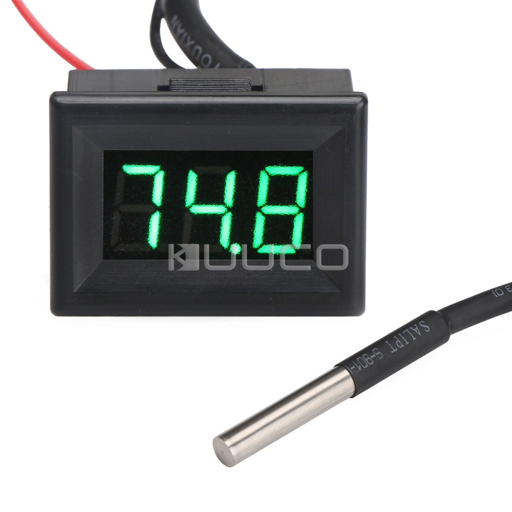 DC 12V 24V Digital Thermometer -67~+257 Fahrenheit Degrees Green Led Temperature Meter for Car/Pet House/Greenhouse/Laboratory new 3 in 1 digital led car voltmeter thermometer auto car usb charger 12v 24v temperature meter voltmeter