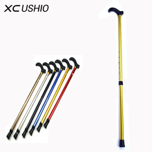 Telescopic Walking Stick Cane Hiking Rubber Tips 6 Grade Alpenstock for Elderly Aluminium Body Climbing Equipment