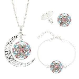 Мандала Цветок Луна стекло время драгоценный камень ожерелье набор ожерелье + серьги + браслет ювелирный набор