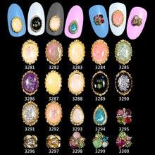 100PCS/Lot 3D Glitter Pearl Foil Rhinestones Nail Design Art Decorations Oval Metal Alloy Accessories Jewelry ****3281-3300