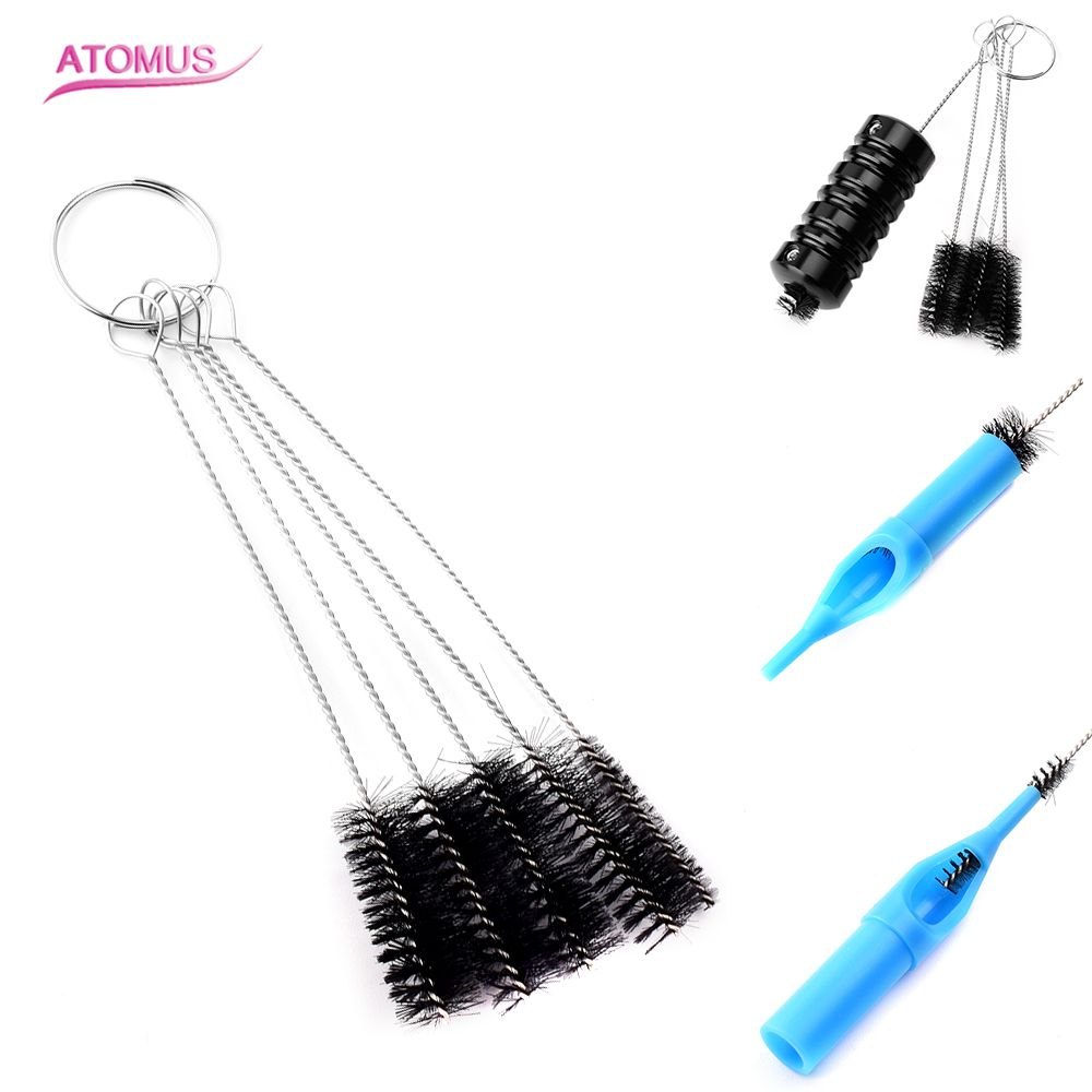 5pcs Tattoo Accessories Cleaning Brush Kit Set Tip Tube Machine Airbrush Spray Gun Tool