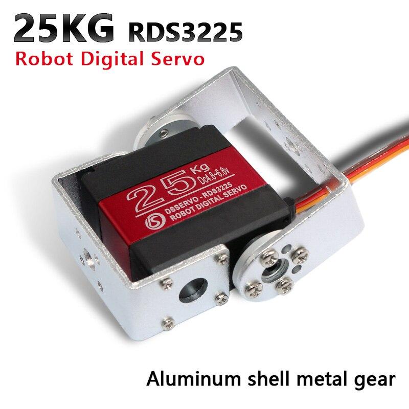1X servo Robot 25 kg RDS3225 servo numérique arduino à engrenage métallique avec montage en U droit Long et court