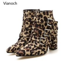 Chelsea Boots Leopard Studded Ankle Boots Women Buckled Heeled Shoes Poitned Toe Heeled Heels Platform Pumps Woman wo1808120