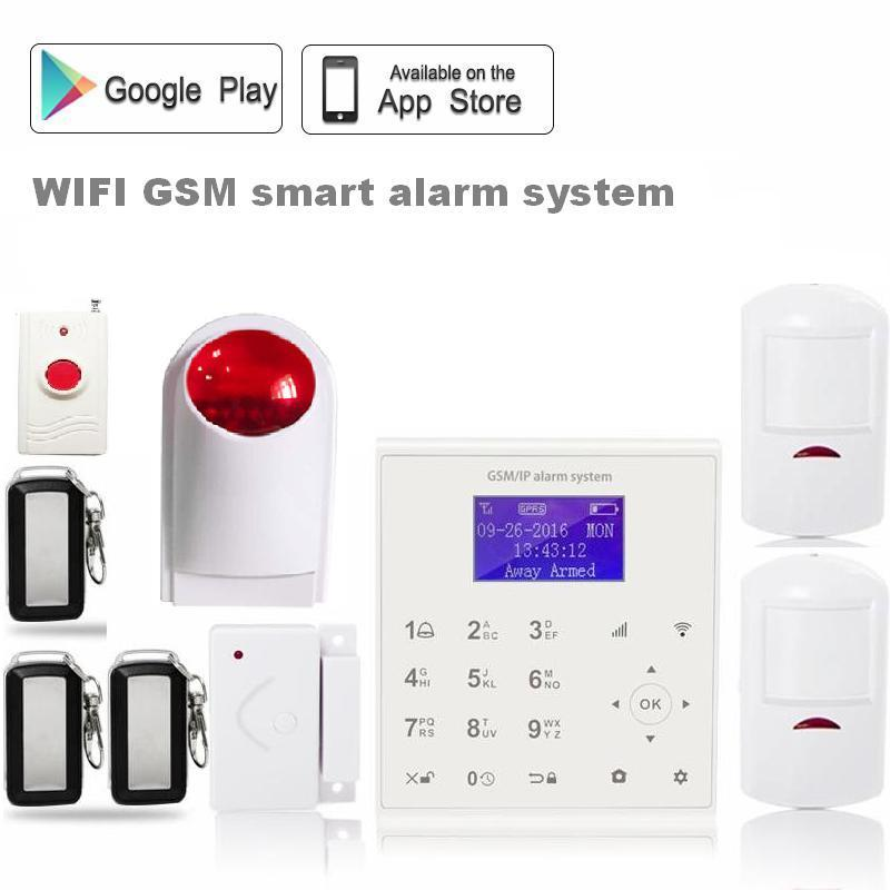 Polish Spanish 433MHz quadband wifi gsm alarm system gprs alarm system home security panic button outdoor wireless strobe siren цена и фото