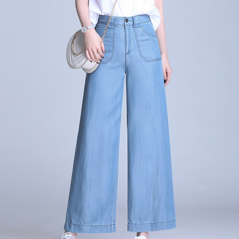 Summer Spirng Fashionable Plus Size High Waist Women Boyfriend Denim Pants Straight Solid Color Loose Wide Leg Ladies Mom Jeans