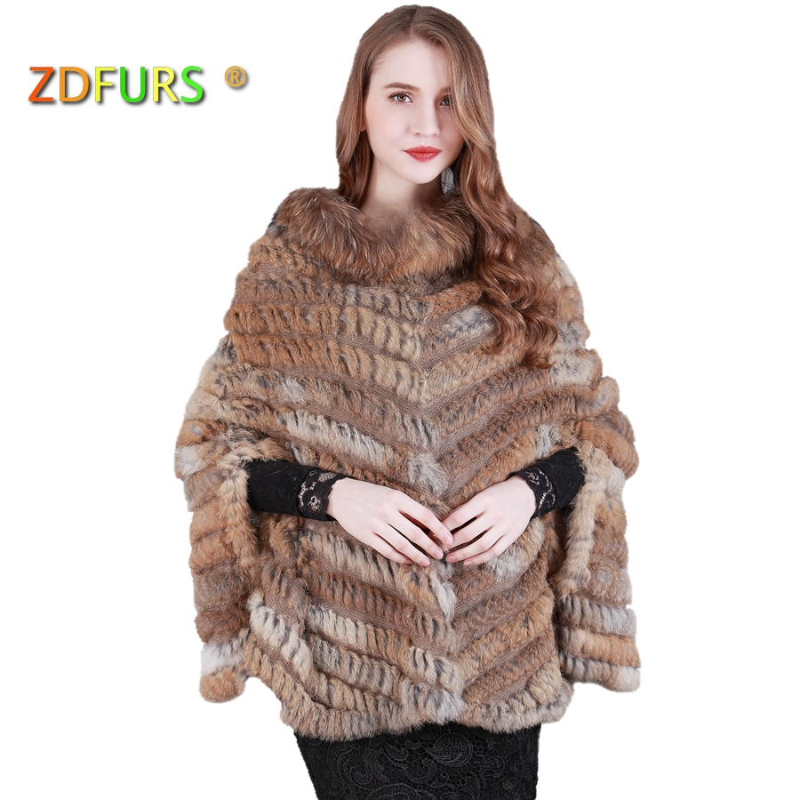 ZDFURS * new fashion real knited rabbit fur Shawl poncho stole shrug cape robe tippet amice   wrap   raccoon fur collar