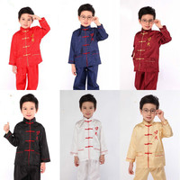 New Arrival Children Kung Fu Clothes Boy Chinese Folk Costume 2 PCS Top Pants Kids Group
