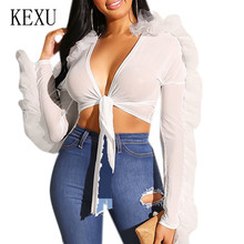 KEXU Fashion Sexy Sheer Mesh Long Sleeve Wooden Ear Chest Strap Top V-neck Hollow Out Transparent Ruffles T-shirt Women