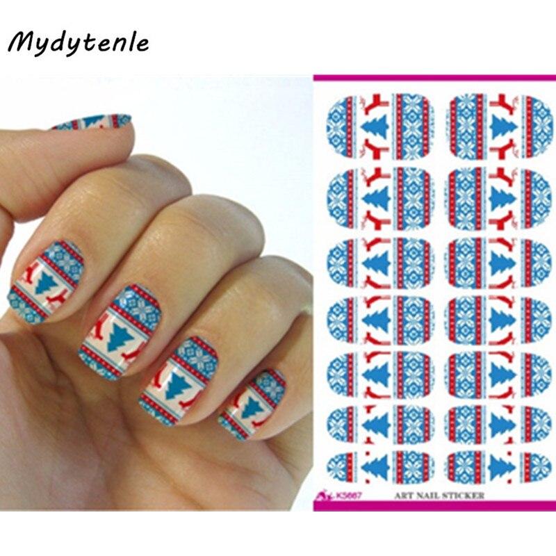 Mydytenle New Water Transfer Nail Art Sticker Merry Christmas Blue Trees Deear Snowflake Nails