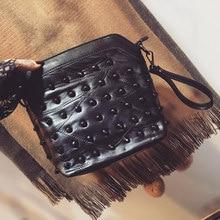 Ladies Fashion Shoulder Bag Real Leather Small font b Handbag b font Edgy Rivets studded Sheepskin