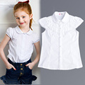 2016 Summer Girls Blouse Kids Baby Girl Clothes Cotton Tops Lace School White Blouses For Girls Short Shirts Children Clothing