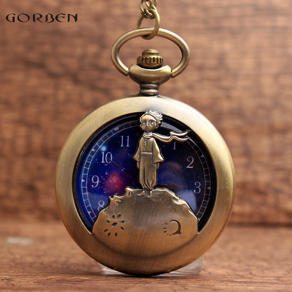 Vintage Howllow Le Petit Prince Designers Pocket Watch FOB Chain Blue Starry Sky Dial Quartz Pocket Watches Christmas Gifts P98