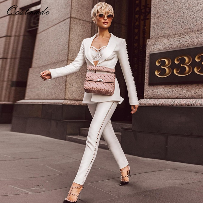 Ocstrade Christmas New Year 2018 Elegant Formal White Sets Womenu0026#39;s Suit Pants And Jacket Runway ...
