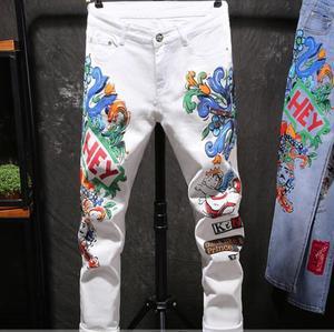 Image 5 - Jisutong Merk Winkel Nieuwe Fashion Hand Gedrukt Mannen Jeans 100% Katoen Denim Broek Witte Hoge Kwaliteit Mans Broek # a006