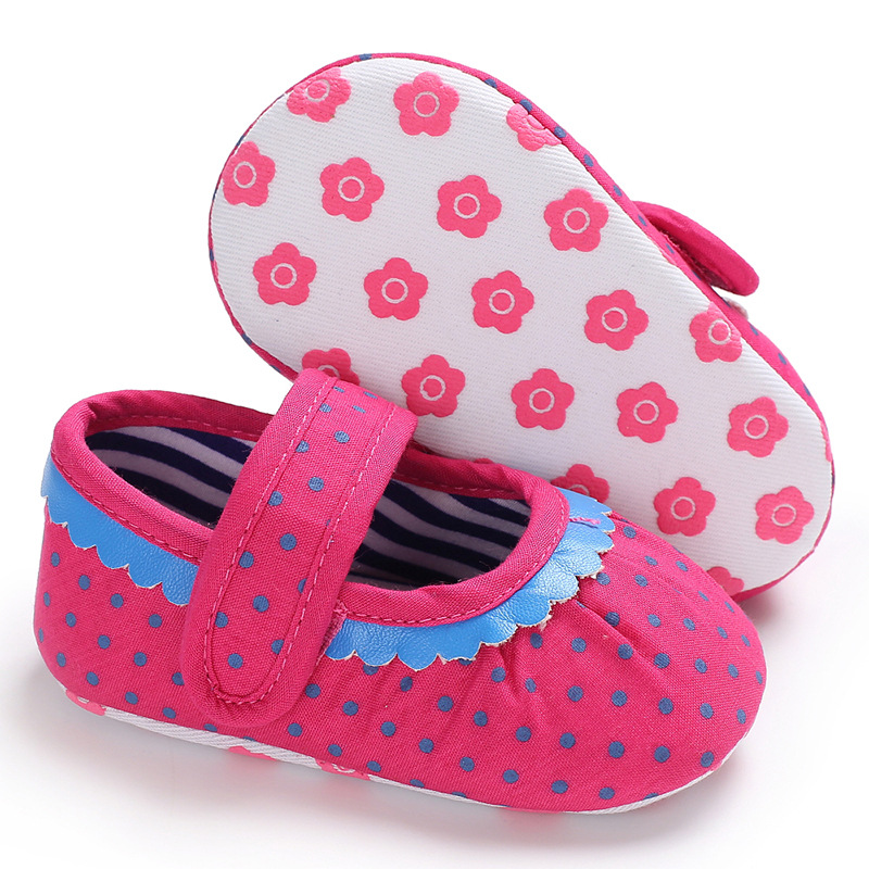 Raise Young Cotton Fabric Newborn Baby Girl Princess Shoes Polka Dot Infant Girl First Walkers Toddler Footwear 0-18M