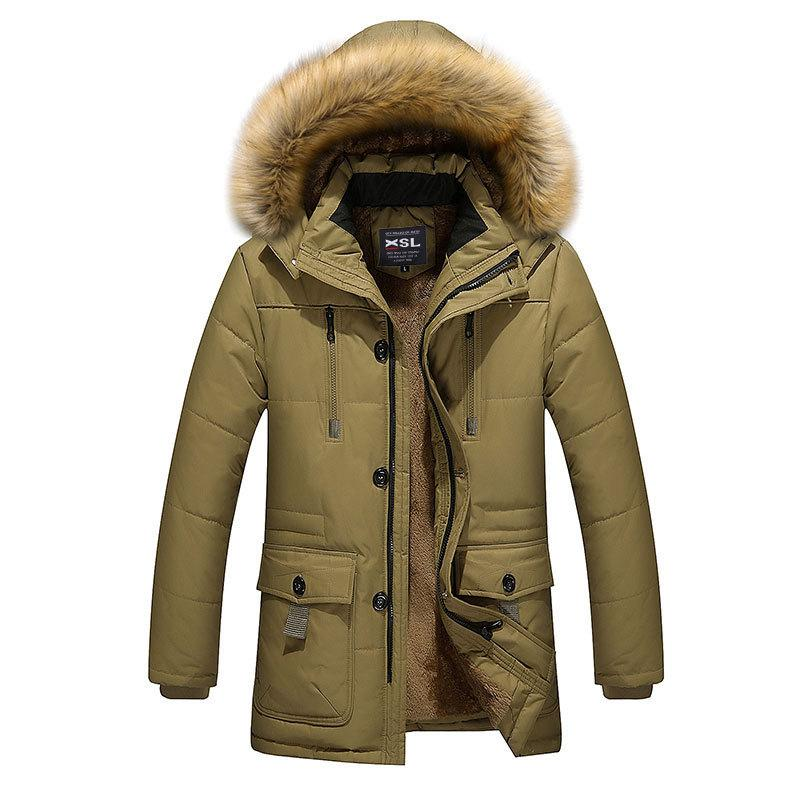 ФОТО 2017 Fashion Brand Clothing Parka Men Thick Mens Winter Parka With Fur Hood Solid Trend Long Men's Winter Jacket And Parka Men