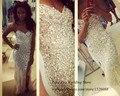 Luxo Bling Champagne Longo Vestido de Noite Cristais Side Dividir Vestido de Festa Noite Elegante Vestidos de Baile Strass Robe de Soirée