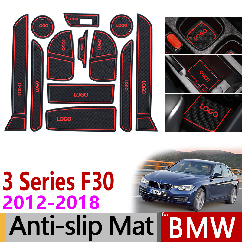 Anti-Slip Gate Slot Mat Rubber Coaster for <font><b>BMW</b></font> 3 Series F30 2013 2014 2015 2016 2017 2018 <font><b>F31</b></font> F34 320 328 M3 Accessories <font><b>Sticker</b></font> image