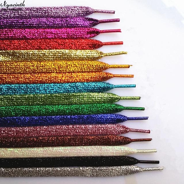 Oro lucido e Argento Colorato Brillante Lacci 19 Colori 110 cm Stringhe  lacci per le scarpe 8eecb99df61