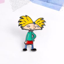 Afro-hair Cool Boy Pattern Pin Cartoon Figure Brooch Denim Jacket Pin Clothing Collar Brooches Badge Gift For Kids #259383(China)