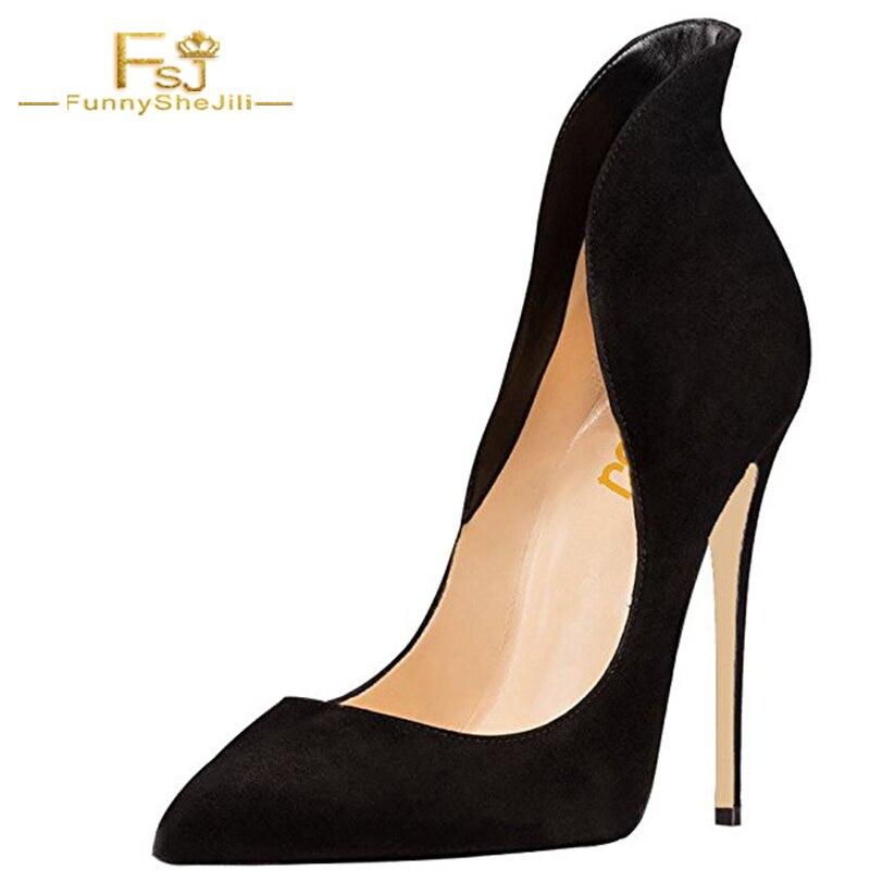 Mature Sexy Black Suede Prom Ladies Autumn Pumps Stilettos Pointed Toe High Heels Dress Party Shoes Women Plus Size 16 FSJ цены онлайн