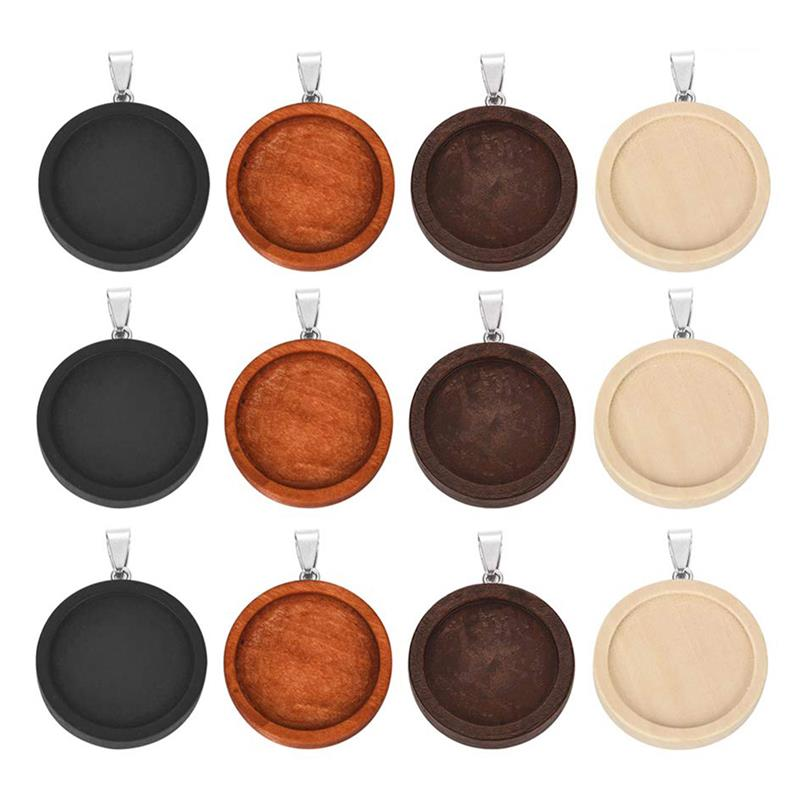 5pcs Wood Pendant Charm Stainless Steel Hook Fit 25mm 30mm Round Cabochon Base Setting Trays Bezel Blank DIY For Jewelry Making