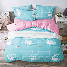 Pink Bedding Sets for Girls Cute Mermaid and Scales Pattern Printed Comforter Duvet Cover Set Pillow Cases Blue blue mermaid scales tassel necklace