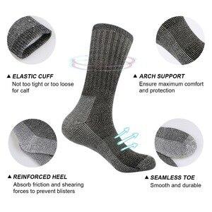 Image 3 - 3pairs/bag Vihir Men Winter Cushioned Merino Wool Socks High Knee Outdoor Sports Hiking Camping Climbing Socks Cycling Ski Socks