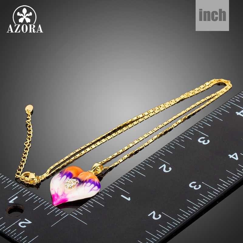 AZORA nowy kolorowy obraz olejny serce wisiorek z długim łańcuszkiem naszyjniki dla kobiet złoty kolor moda biżuteria akcesoria TN0212