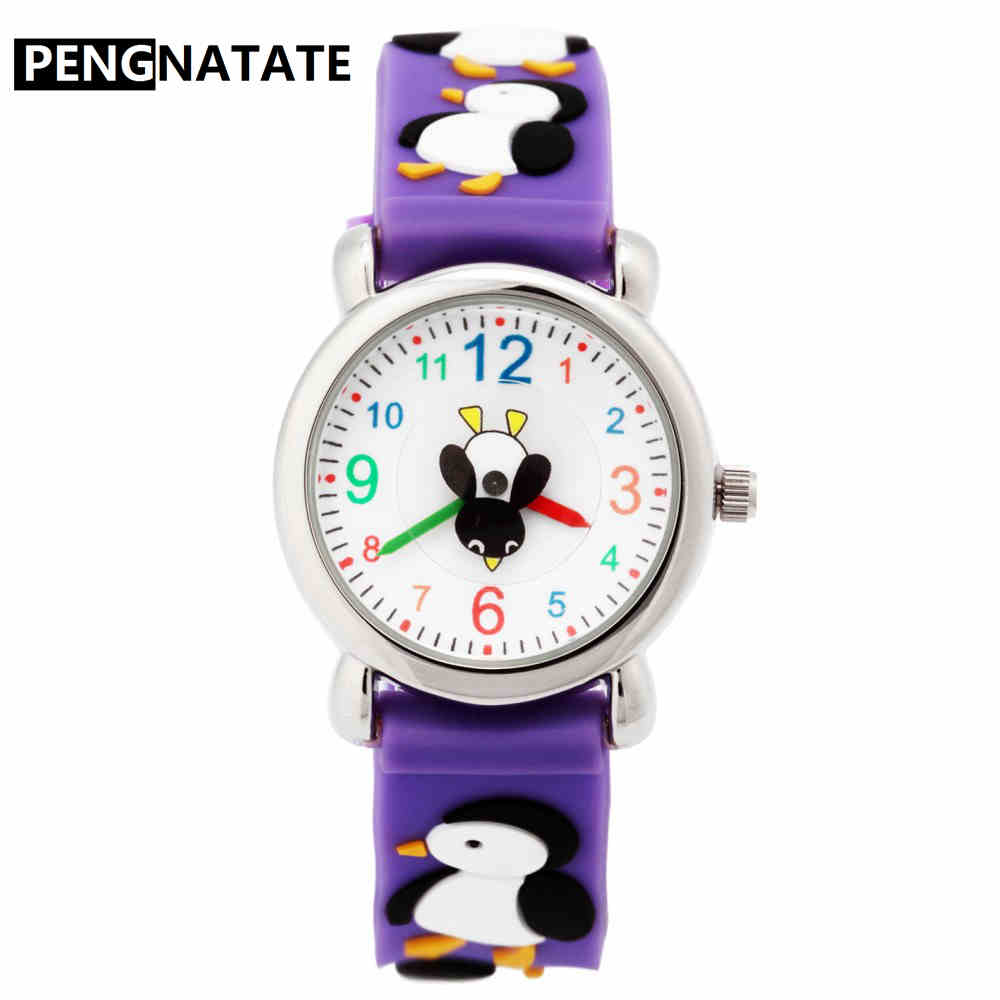 PENGNATATE Children Watch for Girls Purple Strap Cute Cartoon Penguin Kids Watches 3D Silicone Bracelet Wristwatch Gifts Clock cute 3d cartoon penguin style protective silicone soft back case for iphone 4 4s yellow white