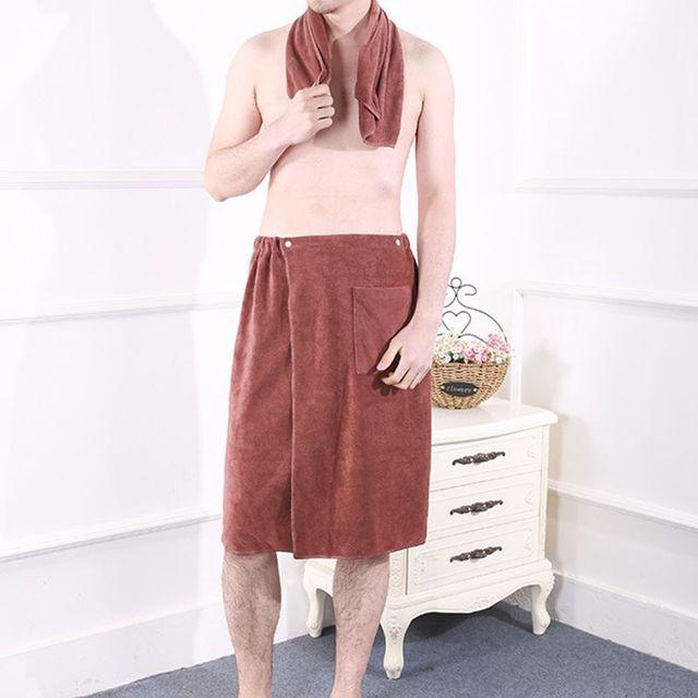 2 pz Uomini di Modo Telo da bagno con Tasca Indossabile Magia Mircofiber Tessuto Morbido Nuoto Beach Bagno Asciugamani Solido Volto Maschile asciugamano